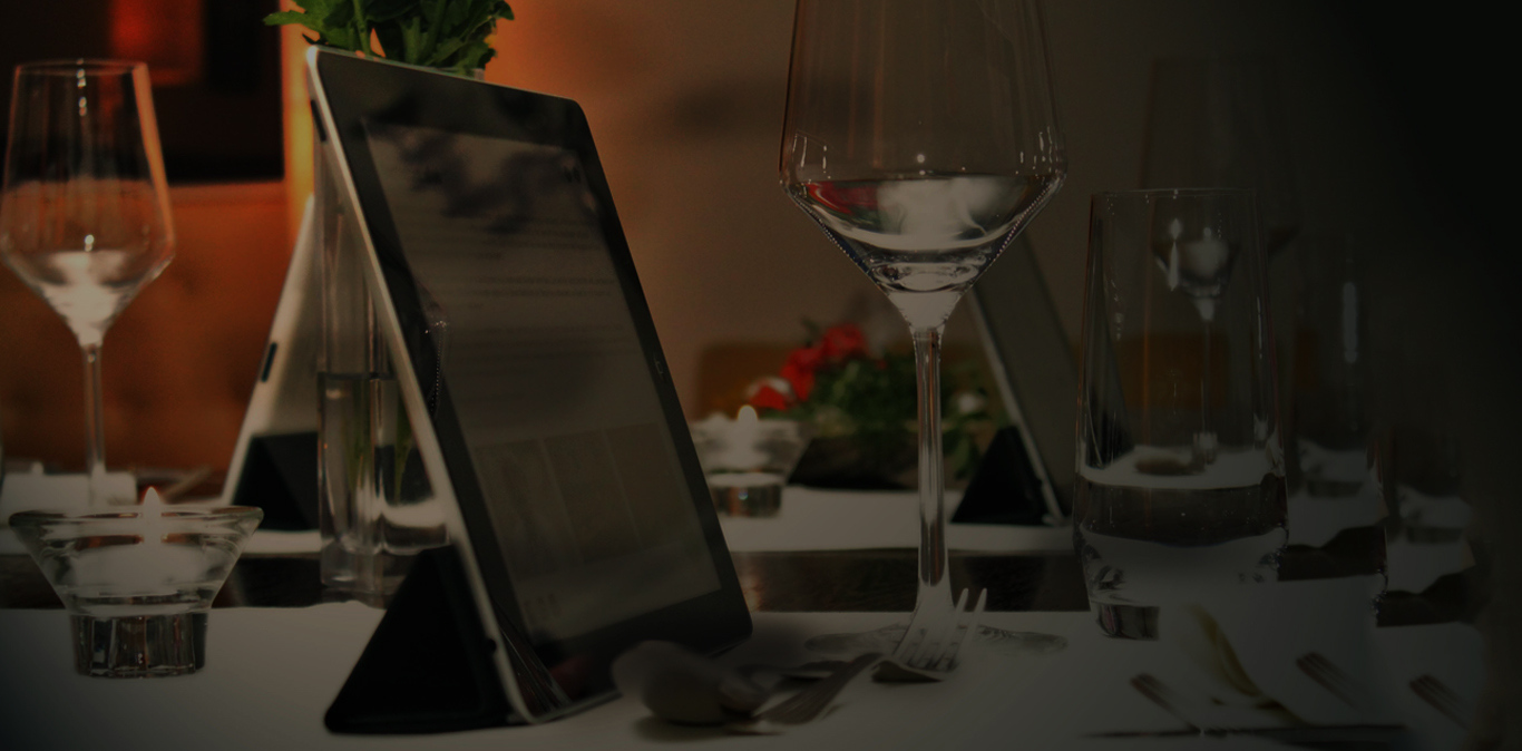Tablet with Restaurant POS system installed on table